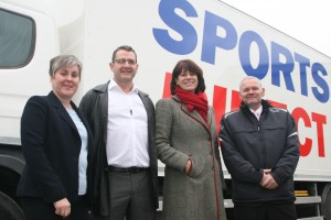 Pictured from L to R: Allison Kemp from AIM Commercial Services Ltd; Ian Baldwin, Global Warehouse Manager for Sports Direct, Roads Minister Claire Perry, and Jamie Potter from Sports Direct.