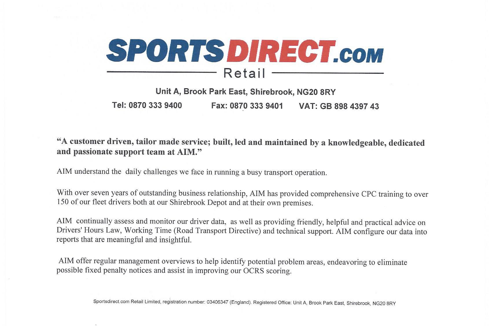 Sports Direct Testimonial