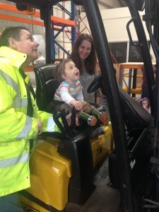 Sebastian Cartwright with Mum Alina and College Tutor Tony Deane at National Lorry Week Fun Day